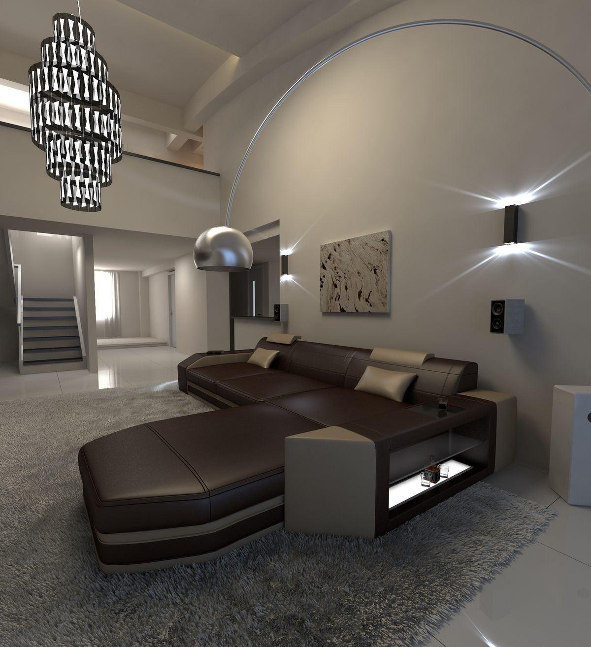 ledersofa prato l form dunkelbraun sandbeige. Black Bedroom Furniture Sets. Home Design Ideas