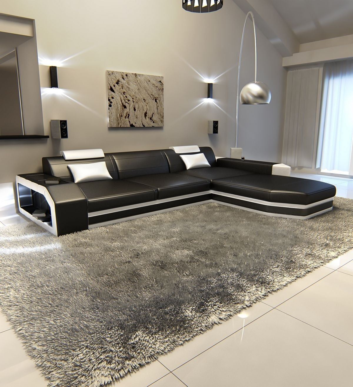 ledersofa prato l form schwarz weiss. Black Bedroom Furniture Sets. Home Design Ideas