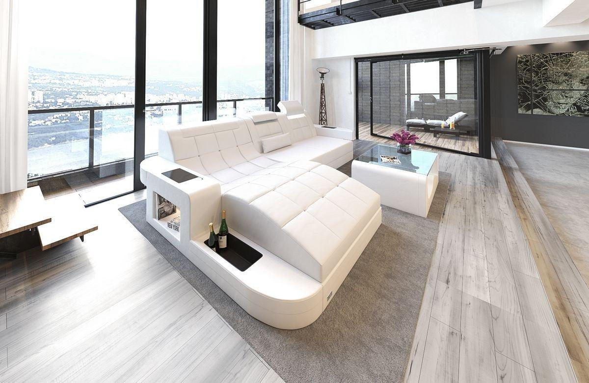 ledersofa wave l form weiss weiss. Black Bedroom Furniture Sets. Home Design Ideas