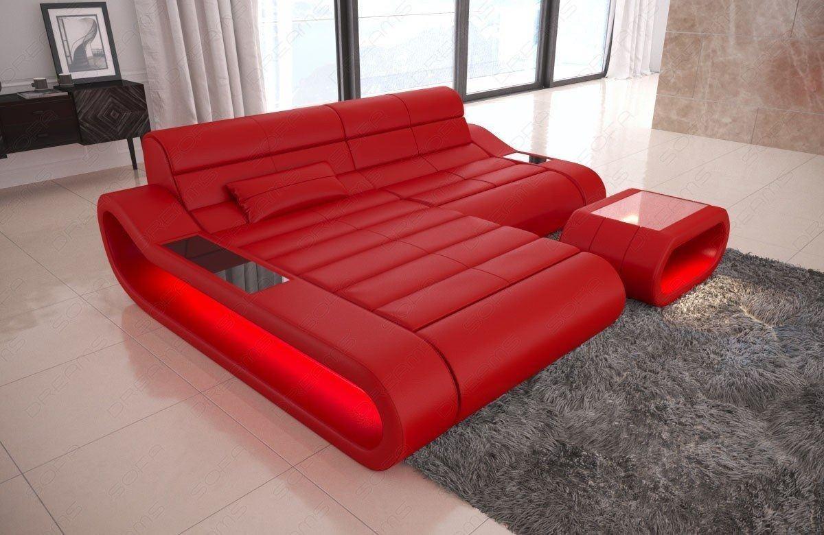 couch concept in leder als l form klein und der farbe rot. Black Bedroom Furniture Sets. Home Design Ideas