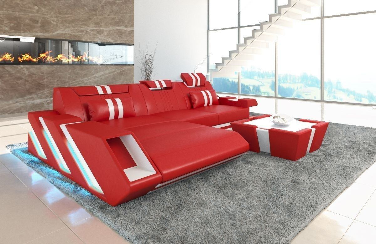 Couch Apollonia Als Ledersofa L Form In Rot Und Weiss