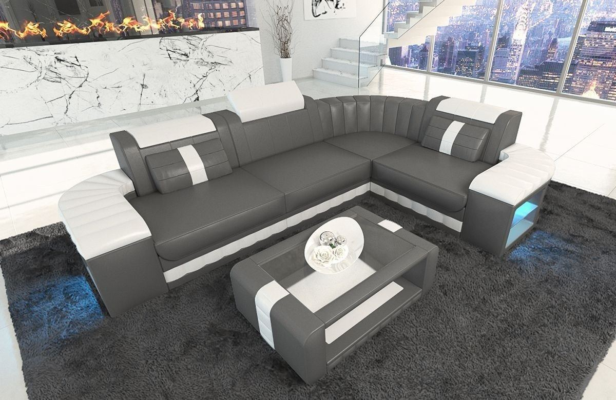 ledersofa bergamo als l form ecksofa in den farben grau und weiss. Black Bedroom Furniture Sets. Home Design Ideas