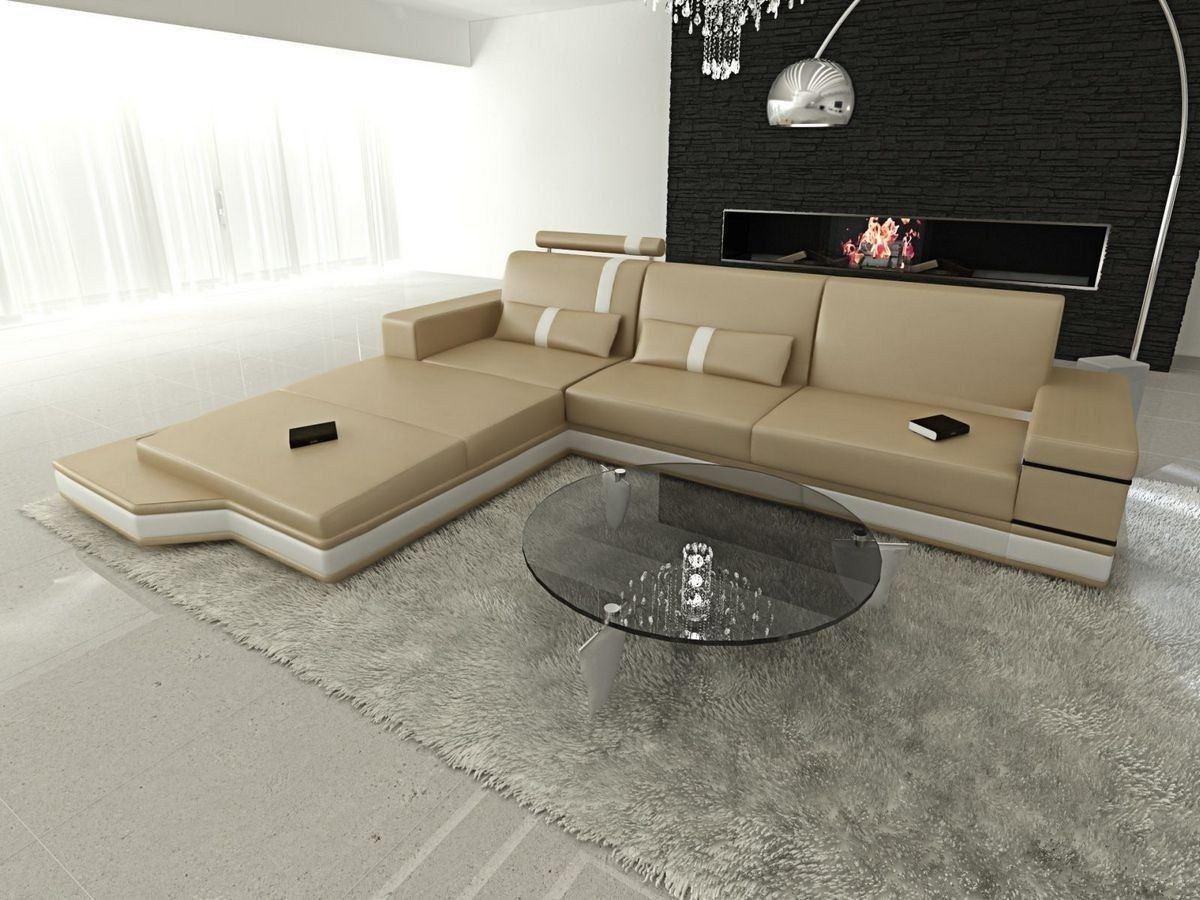 ledersofa messana in der l form als ecksofa in sandbeige und weiss. Black Bedroom Furniture Sets. Home Design Ideas