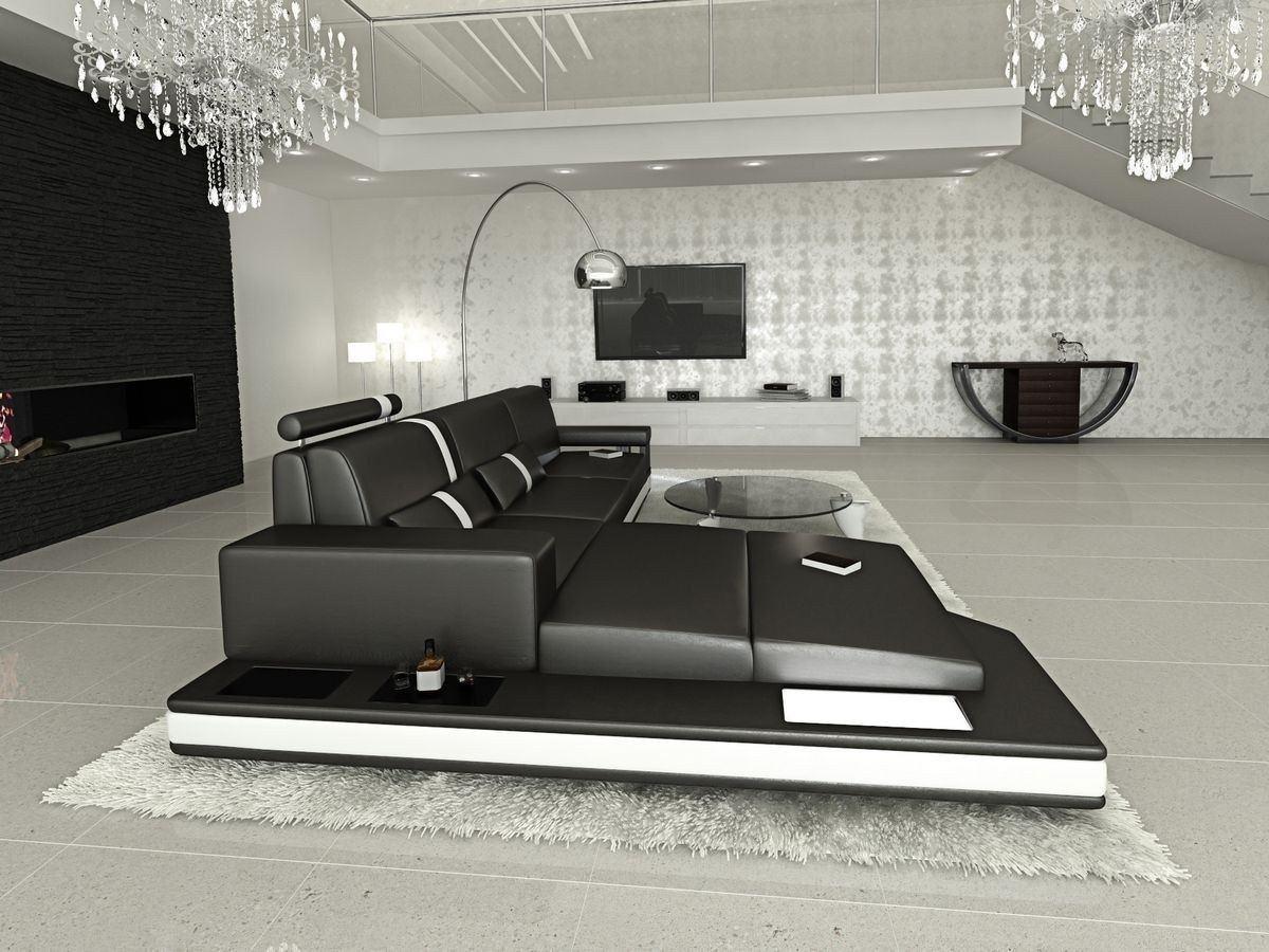 ledersofa messana in der l form als ecksofa in schwarz und. Black Bedroom Furniture Sets. Home Design Ideas