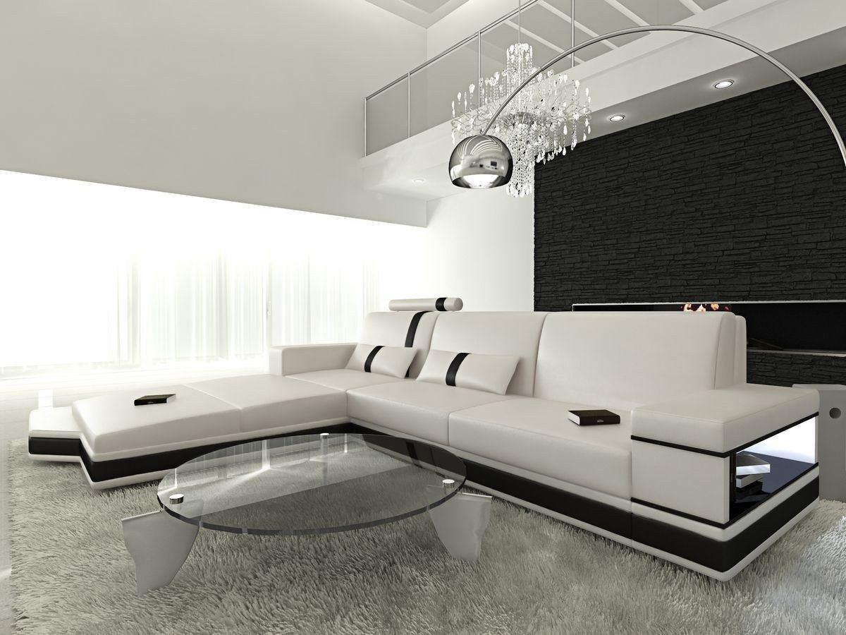 ledersofa messana in der l form als ecksofa in weiss und schwarz. Black Bedroom Furniture Sets. Home Design Ideas