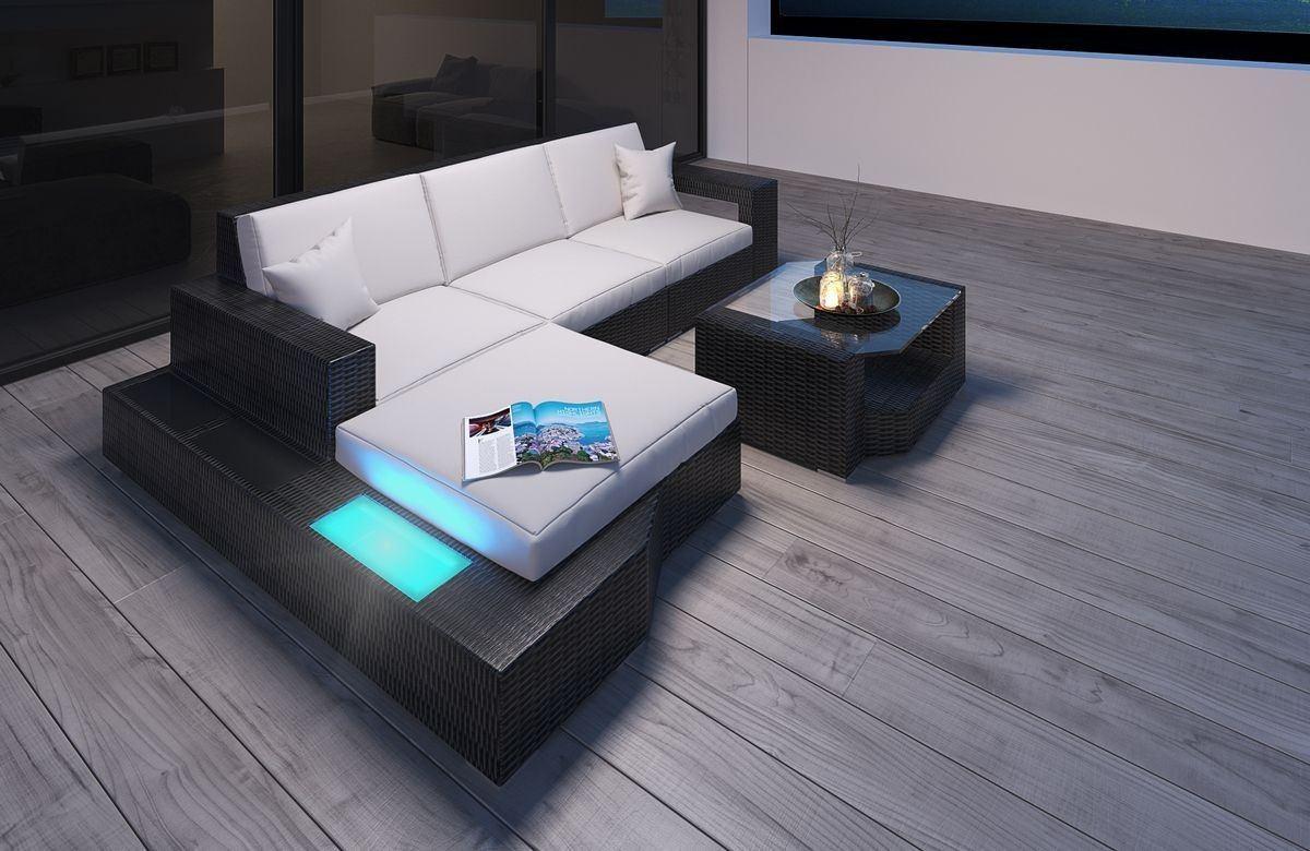 Rattan Sofa Lounge Set Messana L Form LED Schwarz Beige