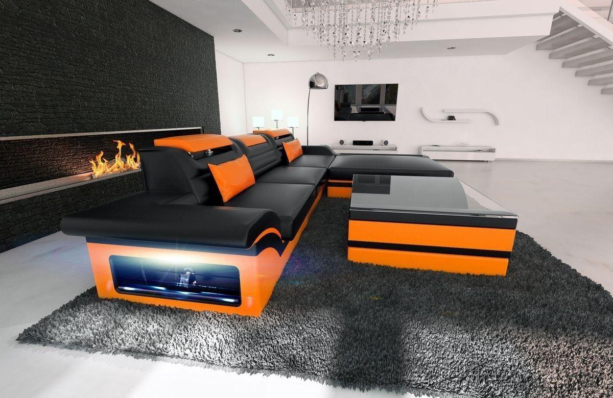 ledersofa parma l form schwarz orange. Black Bedroom Furniture Sets. Home Design Ideas