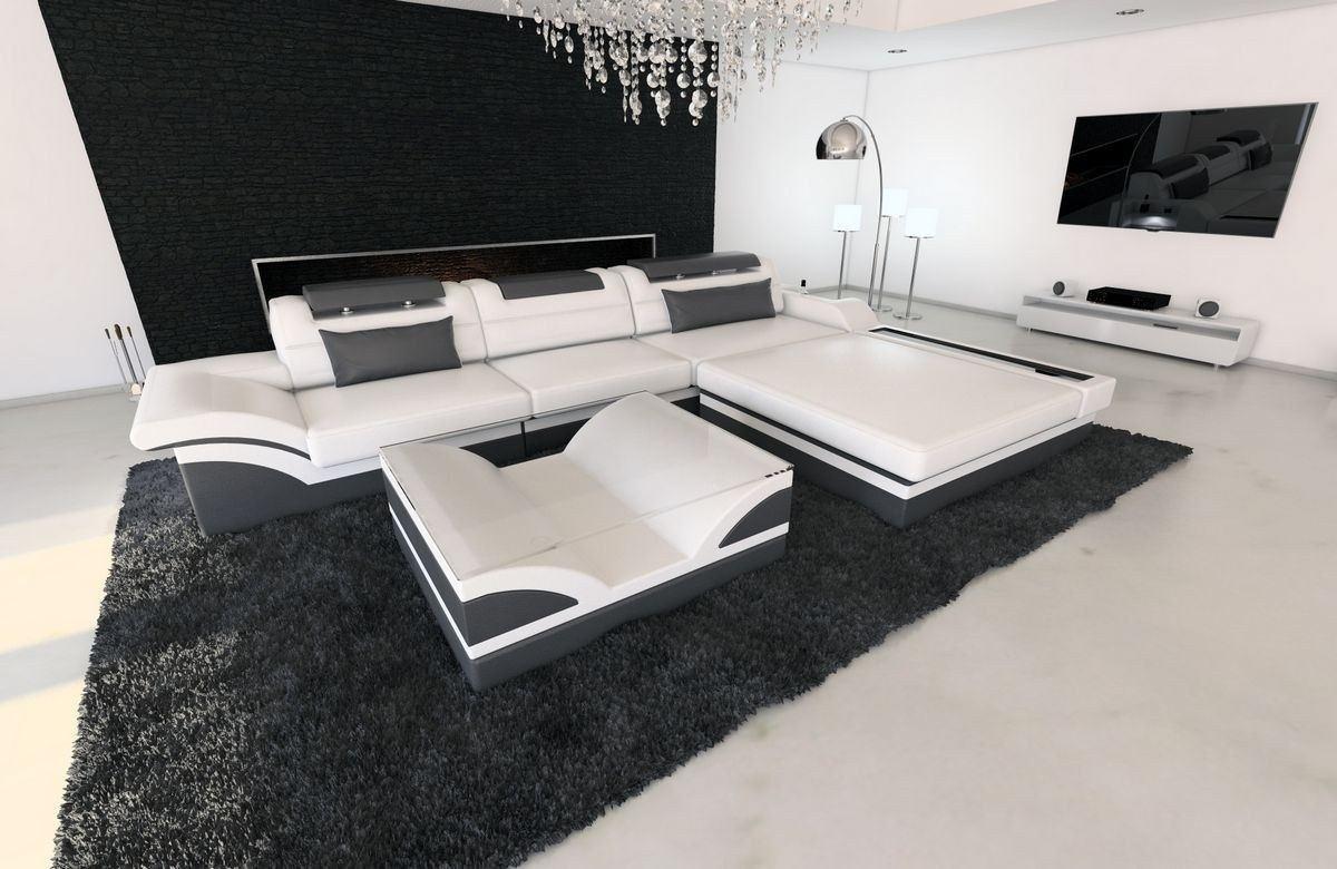 ledersofa parma l form weiss grau. Black Bedroom Furniture Sets. Home Design Ideas