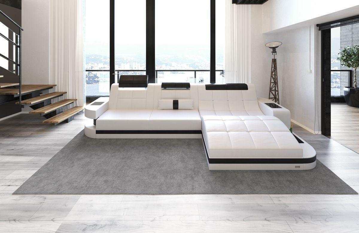 ledersofa wave l form weiss schwarz. Black Bedroom Furniture Sets. Home Design Ideas