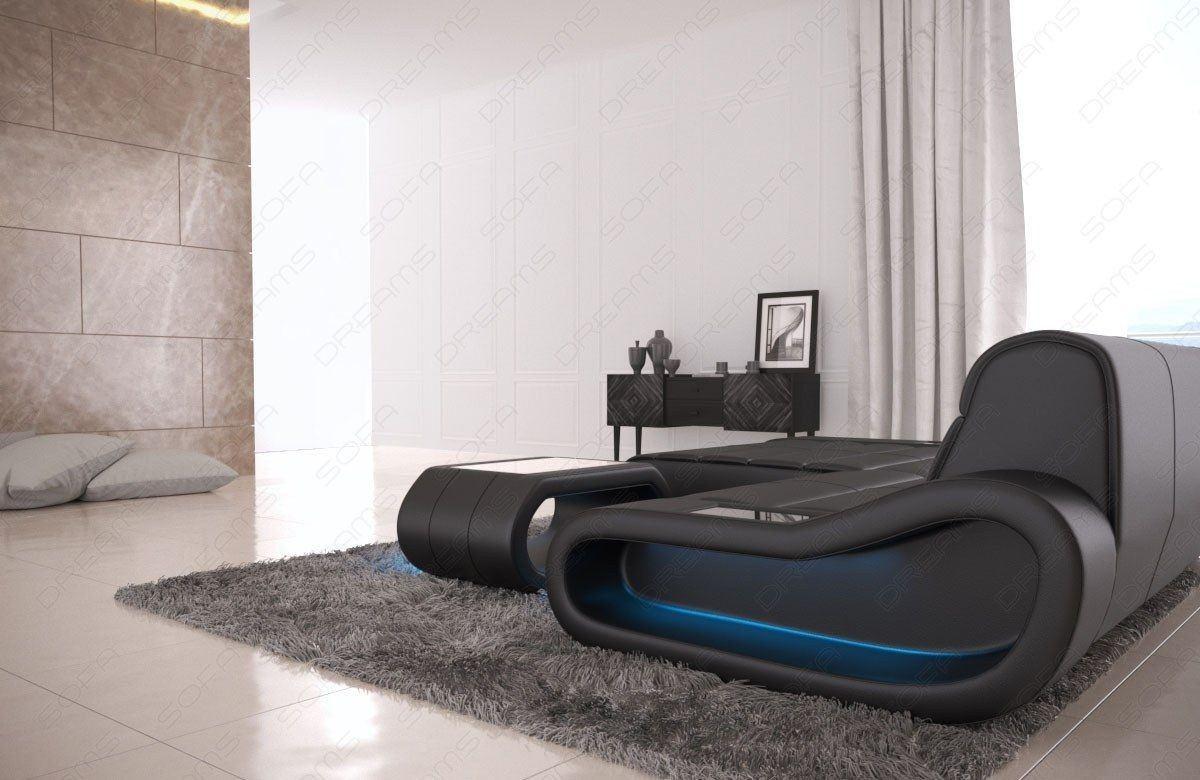 couch concept in leder als l form klein und der farbe schwarz. Black Bedroom Furniture Sets. Home Design Ideas