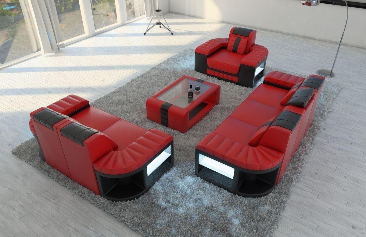 sofa garnitur 3 2 1 bellagio in leder und den farben rot schwarz. Black Bedroom Furniture Sets. Home Design Ideas
