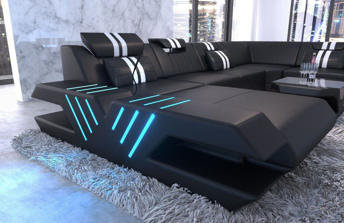 leder wohnlandschaft venedig u form schwarz weiss. Black Bedroom Furniture Sets. Home Design Ideas