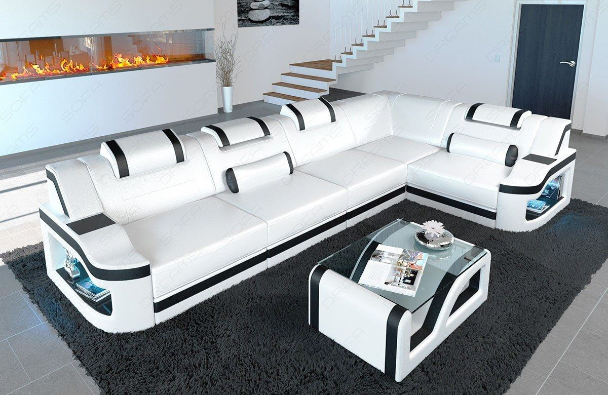 ecksofa padua in leder das l form sofa mit led beleuchtung. Black Bedroom Furniture Sets. Home Design Ideas