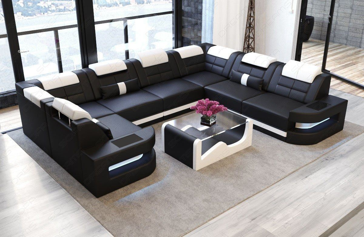 sofa wohnlandschaft como u form in leder schwarz und weiss. Black Bedroom Furniture Sets. Home Design Ideas