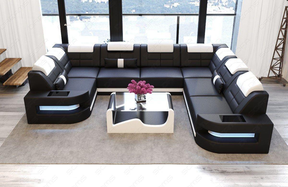 Sofa Wohnlandschaft Como Leder U Form Schwarz Weiss