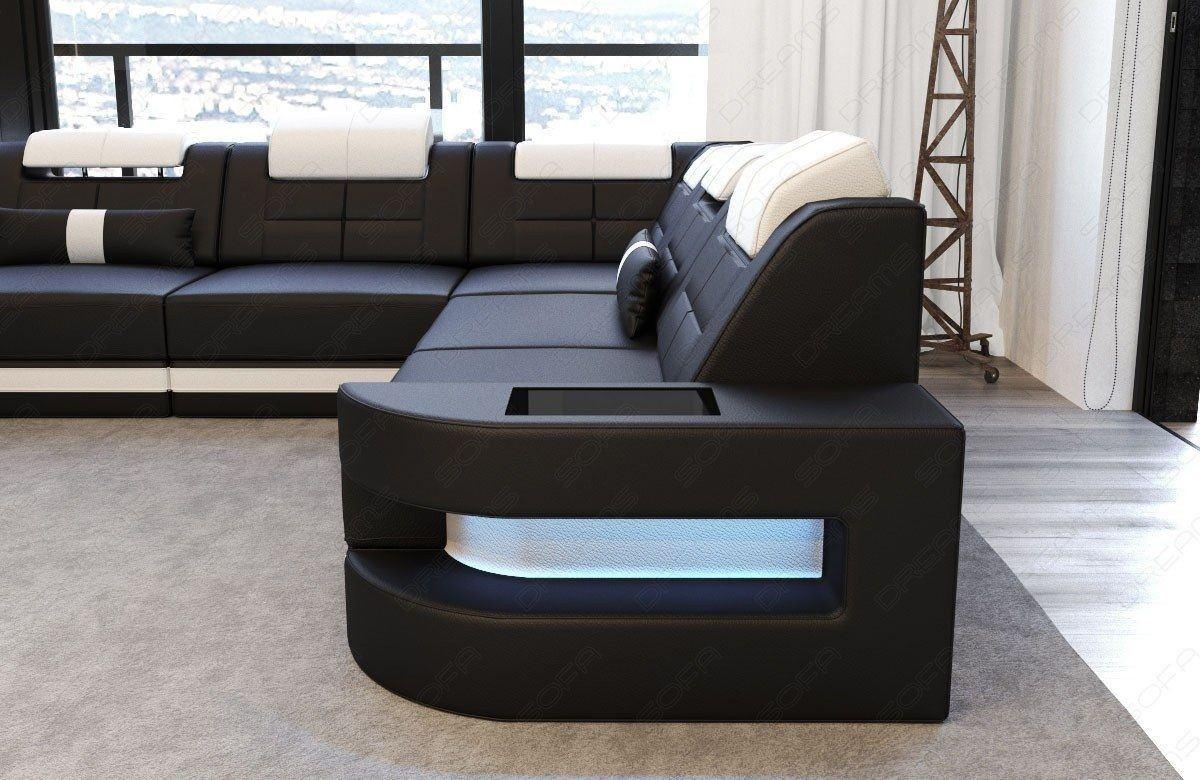 sofa wohnlandschaft como u form in leder schwarz und weiss. Black Bedroom Furniture Sets. Home Design Ideas