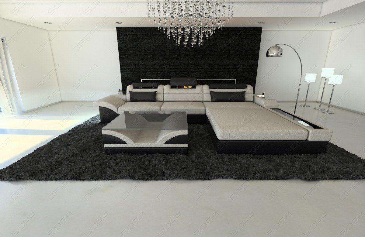designer couch parma in der l form mit stoffbezug und licht. Black Bedroom Furniture Sets. Home Design Ideas