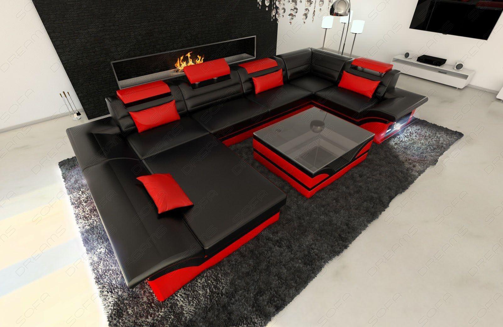 design wohnlandschaft enzo u form in leder mit led beleuchtung. Black Bedroom Furniture Sets. Home Design Ideas