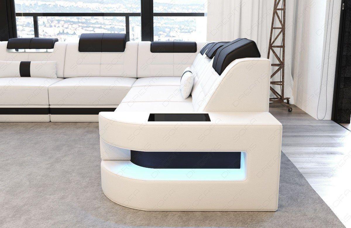 Sofa wohnlandschaft como u form in leder weiss und schwarz for Couch 0 finanzierung