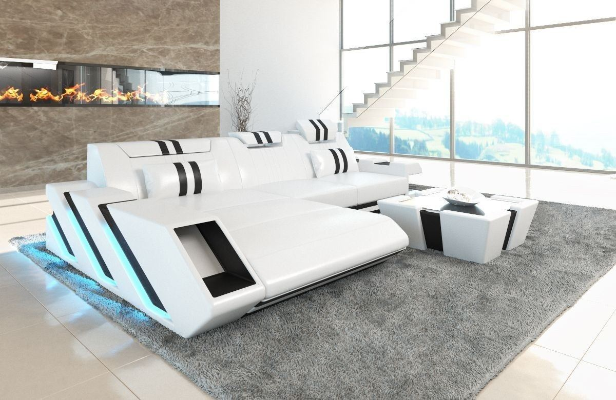 couch apollonia als ledersofa l form in weiss und schwarz. Black Bedroom Furniture Sets. Home Design Ideas