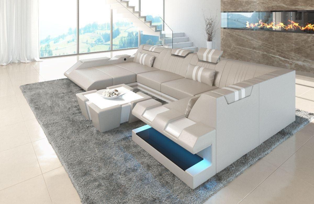 leder wohnlandschaft apollonia u form beige weiss. Black Bedroom Furniture Sets. Home Design Ideas