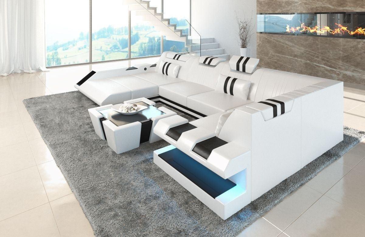 Sofa Wohnlandschaft Apollonia als U Form in Weiss und Schwarz