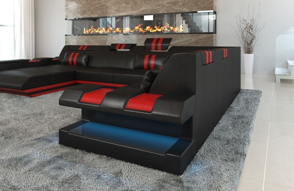 xxl leder wohnlandschaft apollonia in schwarz und rot. Black Bedroom Furniture Sets. Home Design Ideas