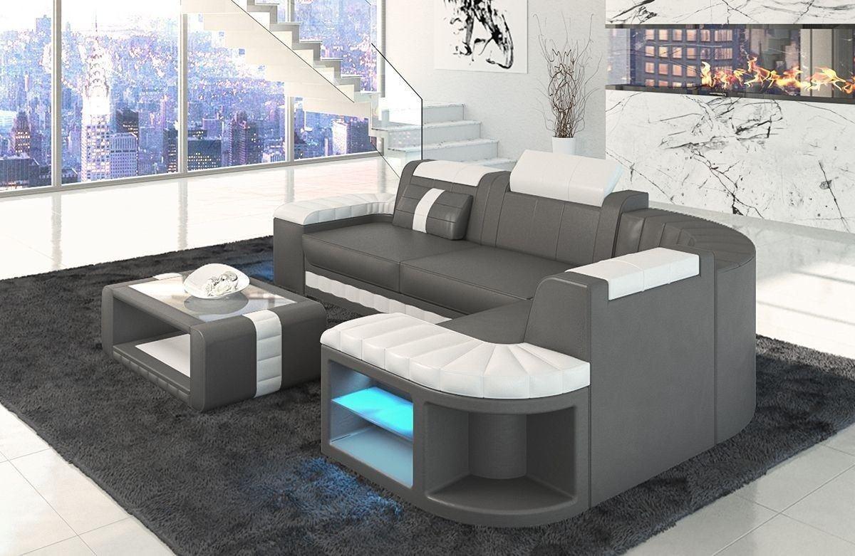 ledersofa bergamo als l form ecksofa in den farben grau und weiss. Black Bedroom Furniture Sets. Home Design Ideas