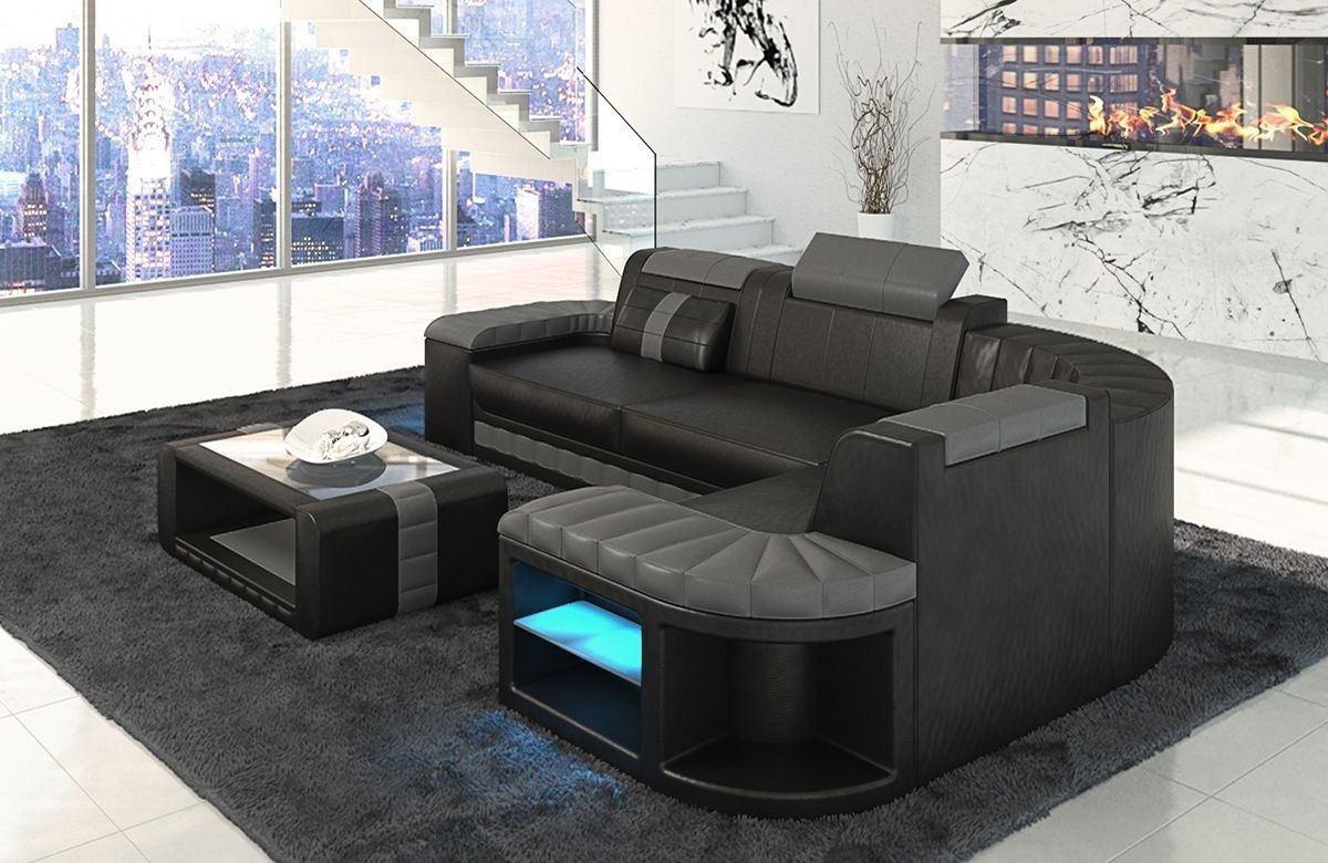 ledersofa bergamo als l form ecksofa in den farben schwarz grau. Black Bedroom Furniture Sets. Home Design Ideas