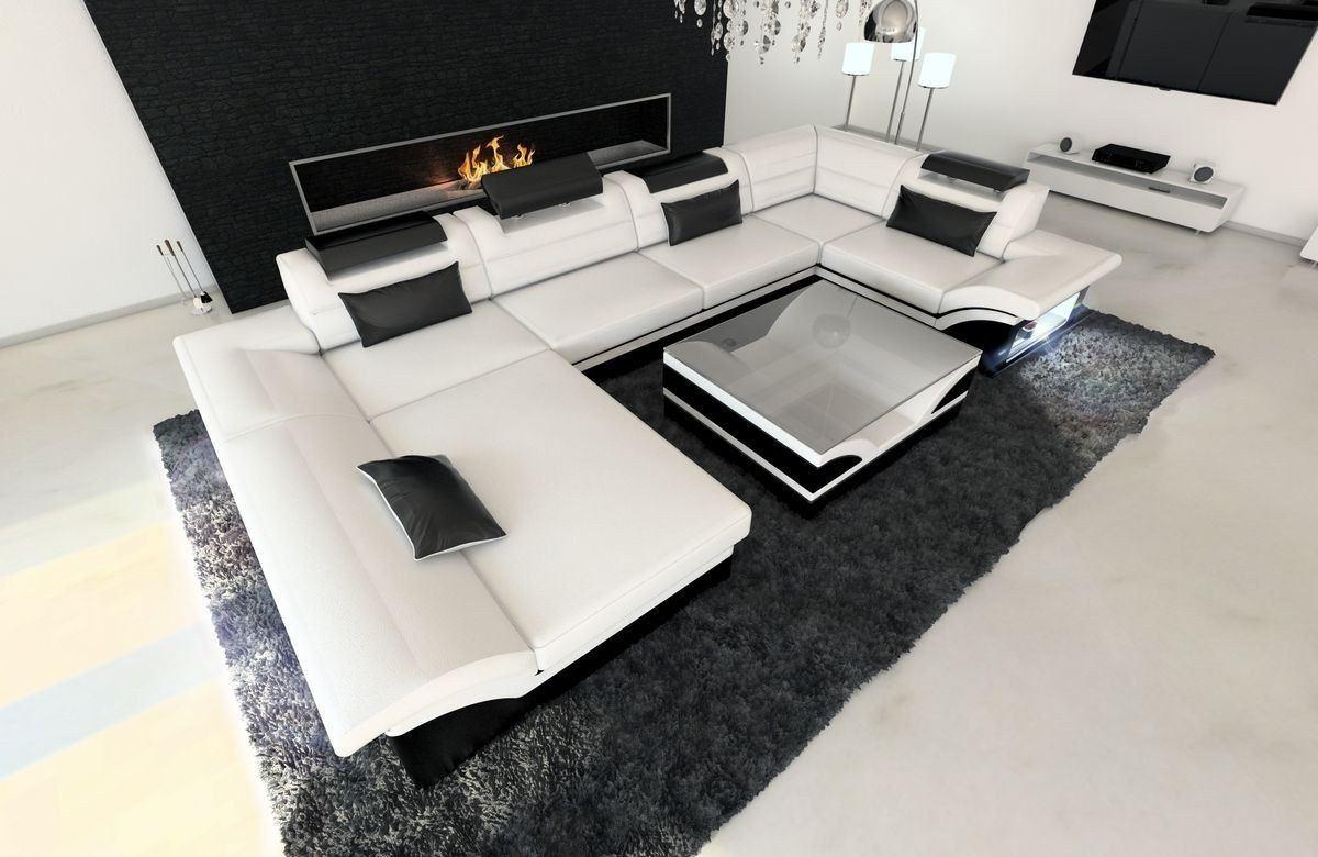 leder wohnlandschaft enzo u form weiss schwarz. Black Bedroom Furniture Sets. Home Design Ideas