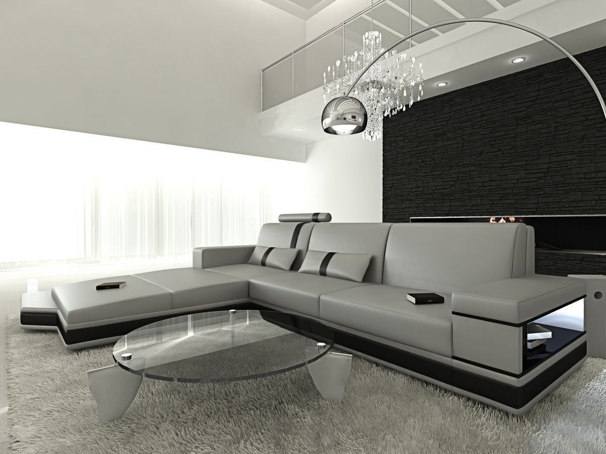 ledersofa messana in der l form als ecksofa in grau und schwarz. Black Bedroom Furniture Sets. Home Design Ideas