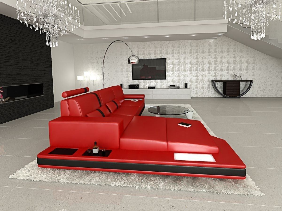 ledersofa messana in der l form als ecksofa in rot und schwarz. Black Bedroom Furniture Sets. Home Design Ideas