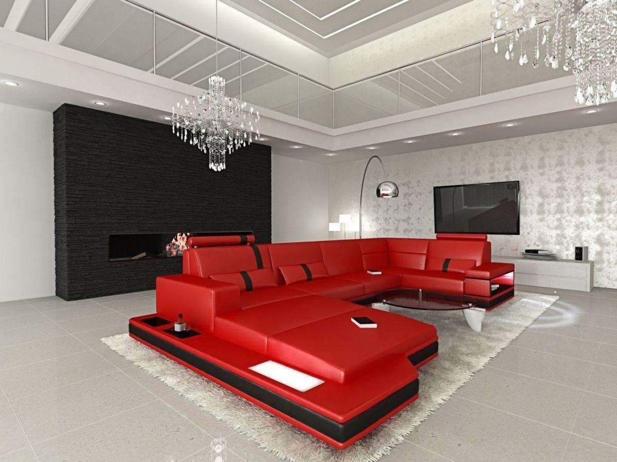 wohnlandschaft messana in leder als u form rot und schwarz. Black Bedroom Furniture Sets. Home Design Ideas