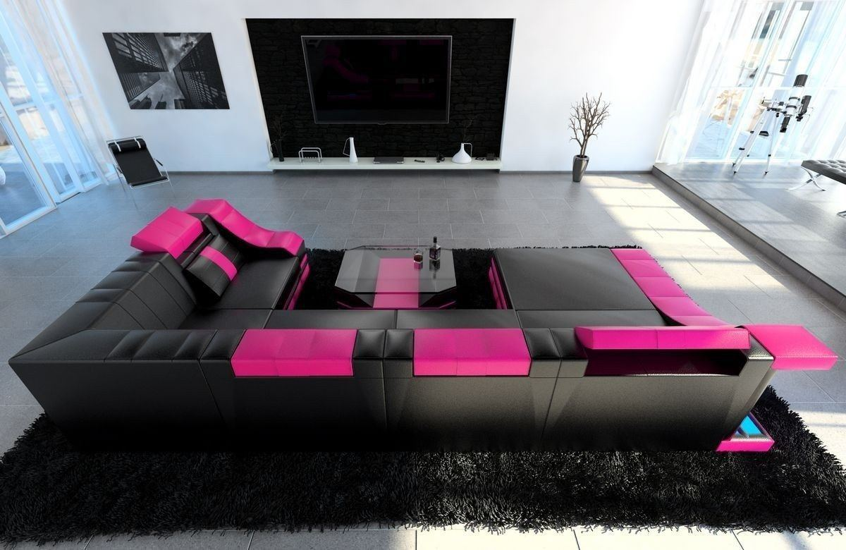 sofa wohnlandschaft turino leder als u form in schwarz und. Black Bedroom Furniture Sets. Home Design Ideas