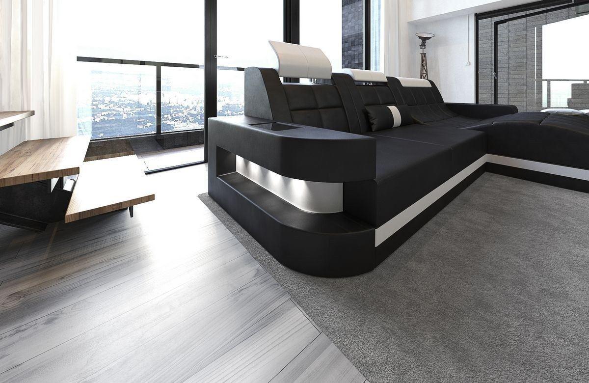 ledersofa wave l form schwarz weiss. Black Bedroom Furniture Sets. Home Design Ideas