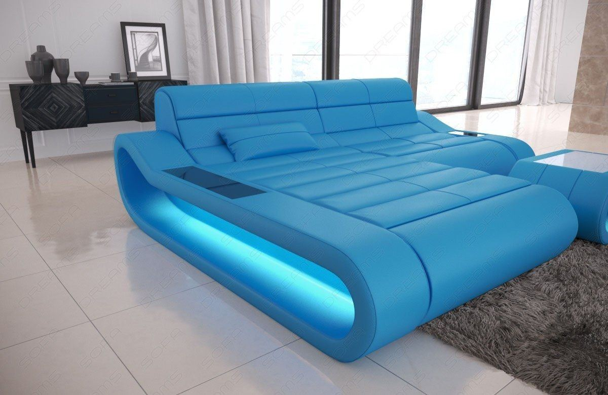 couch concept in leder als l form klein und der farbe blau. Black Bedroom Furniture Sets. Home Design Ideas