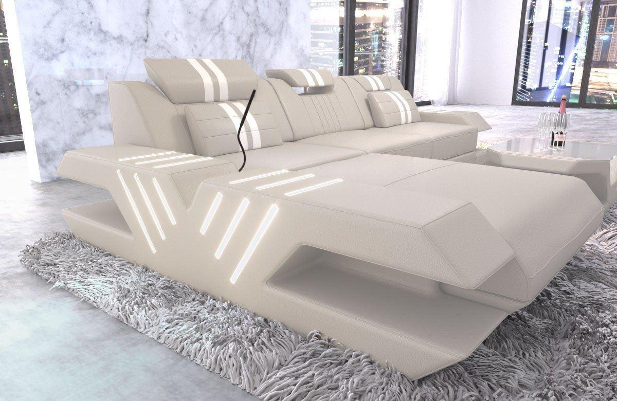 ledersofa venedig l form beige weiss. Black Bedroom Furniture Sets. Home Design Ideas