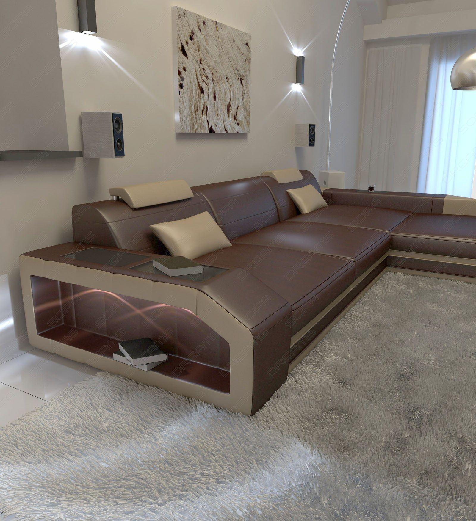 Modernes Ledersofa Prato Als L Form In Leder Auch Mit Bettfunktion