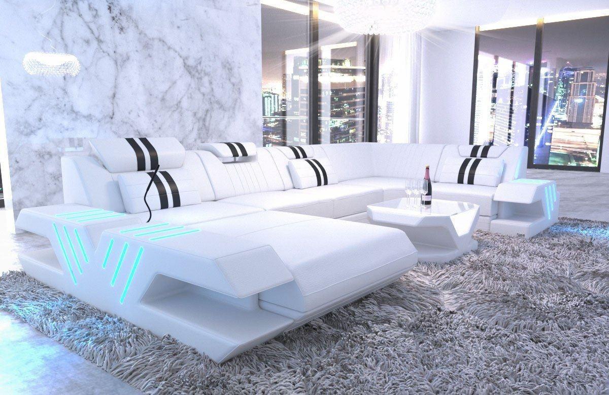 leder wohnlandschaft venedig u form weiss schwarz. Black Bedroom Furniture Sets. Home Design Ideas