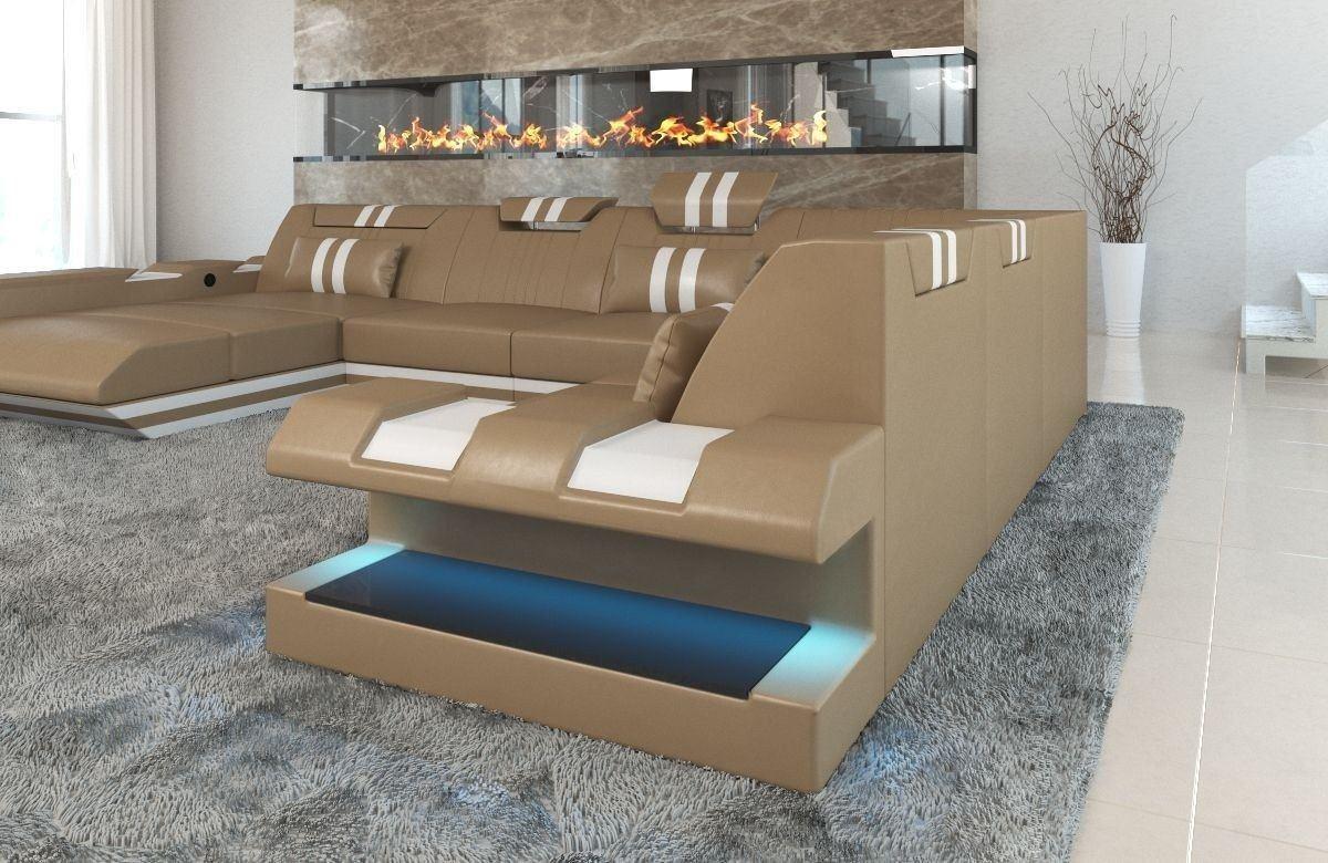 xxl leder wohnlandschaft apollonia in sandbeige und weiss. Black Bedroom Furniture Sets. Home Design Ideas