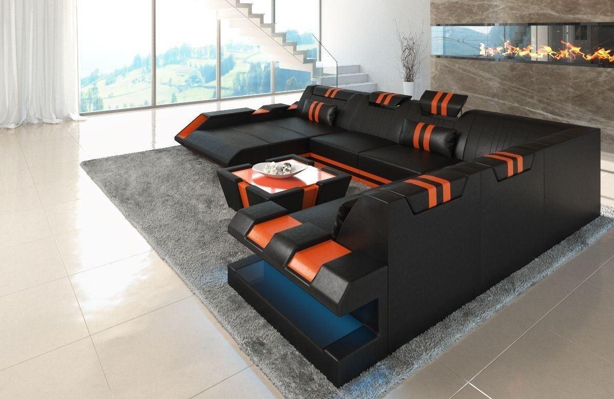 xxl leder wohnlandschaft apollonia in schwarz und orange. Black Bedroom Furniture Sets. Home Design Ideas