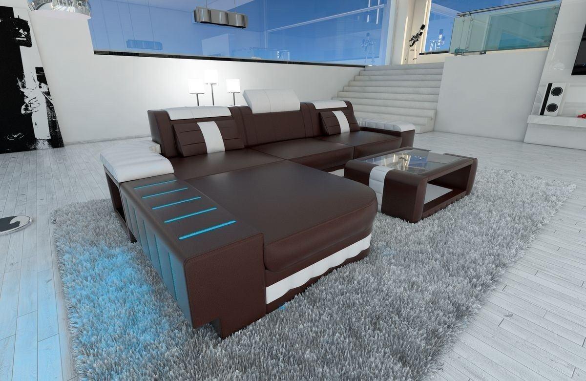ledersofa bellagio als ecksofa l form in dunkelbraun und weiss. Black Bedroom Furniture Sets. Home Design Ideas