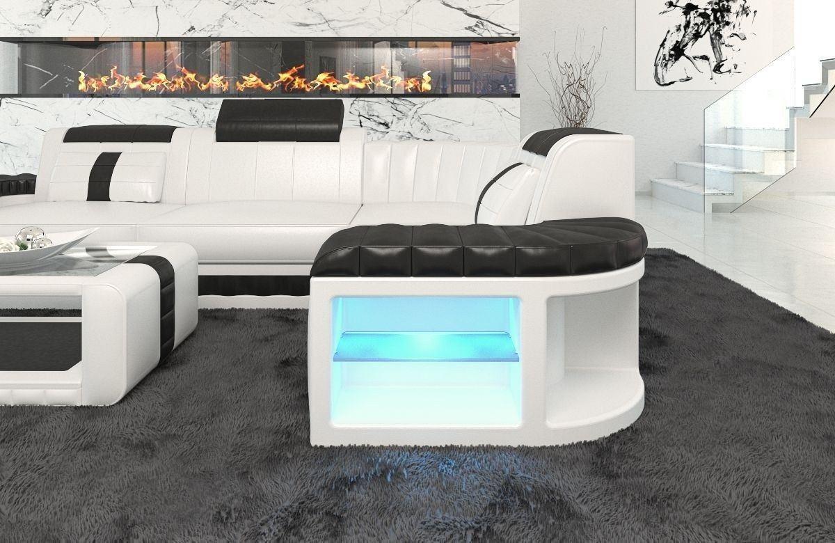 ledersofa bergamo als l form ecksofa in den farben weiss schwarz. Black Bedroom Furniture Sets. Home Design Ideas