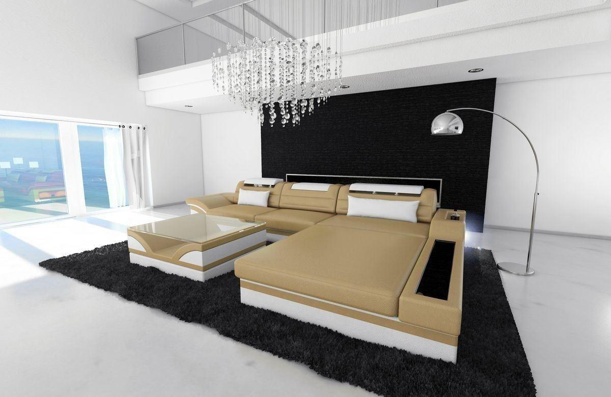 ledersofa parma l form sandbeige weiss. Black Bedroom Furniture Sets. Home Design Ideas