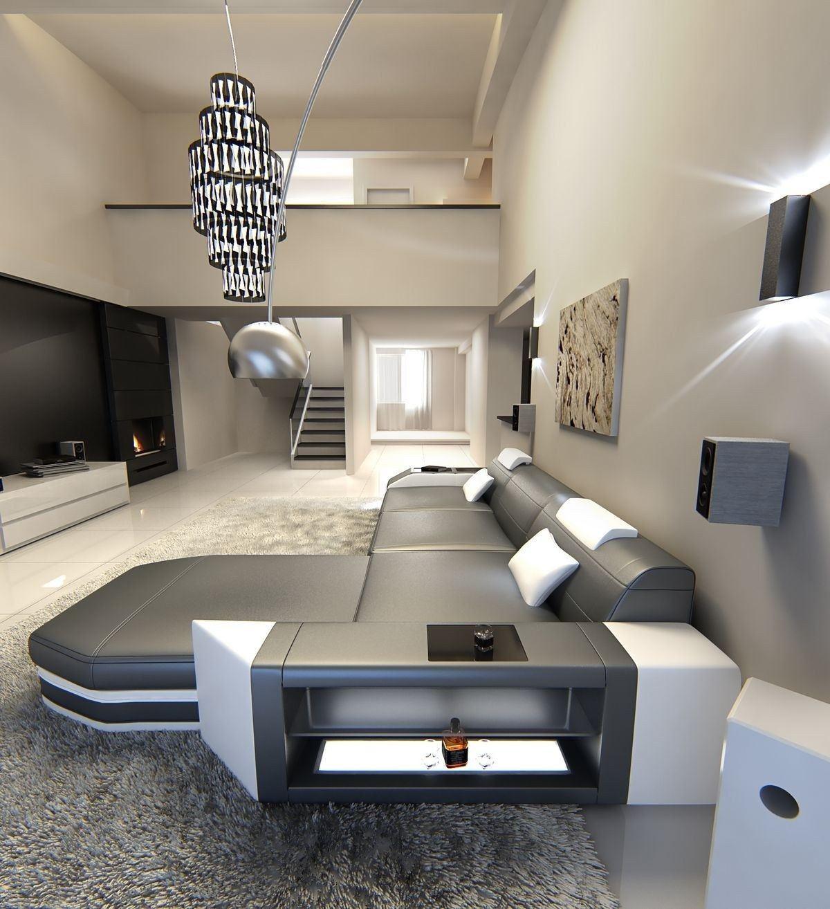 ledersofa prato l form grau weiss. Black Bedroom Furniture Sets. Home Design Ideas