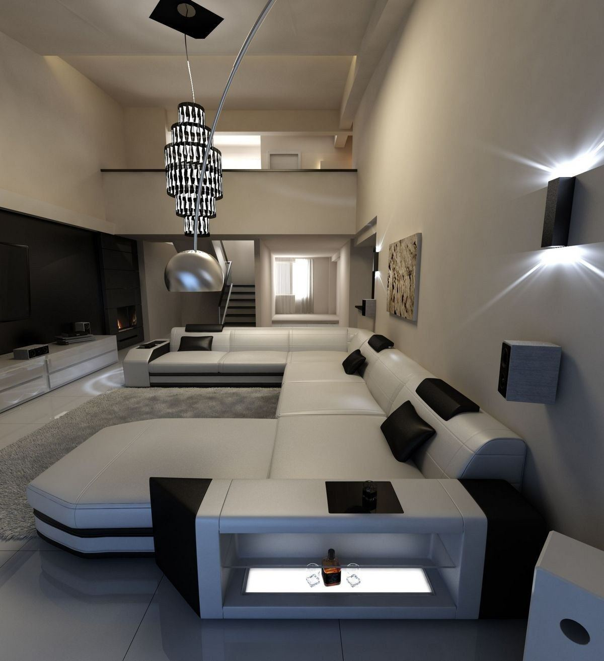 xxl wohnlandschaft prato xxl weiss schwarz. Black Bedroom Furniture Sets. Home Design Ideas