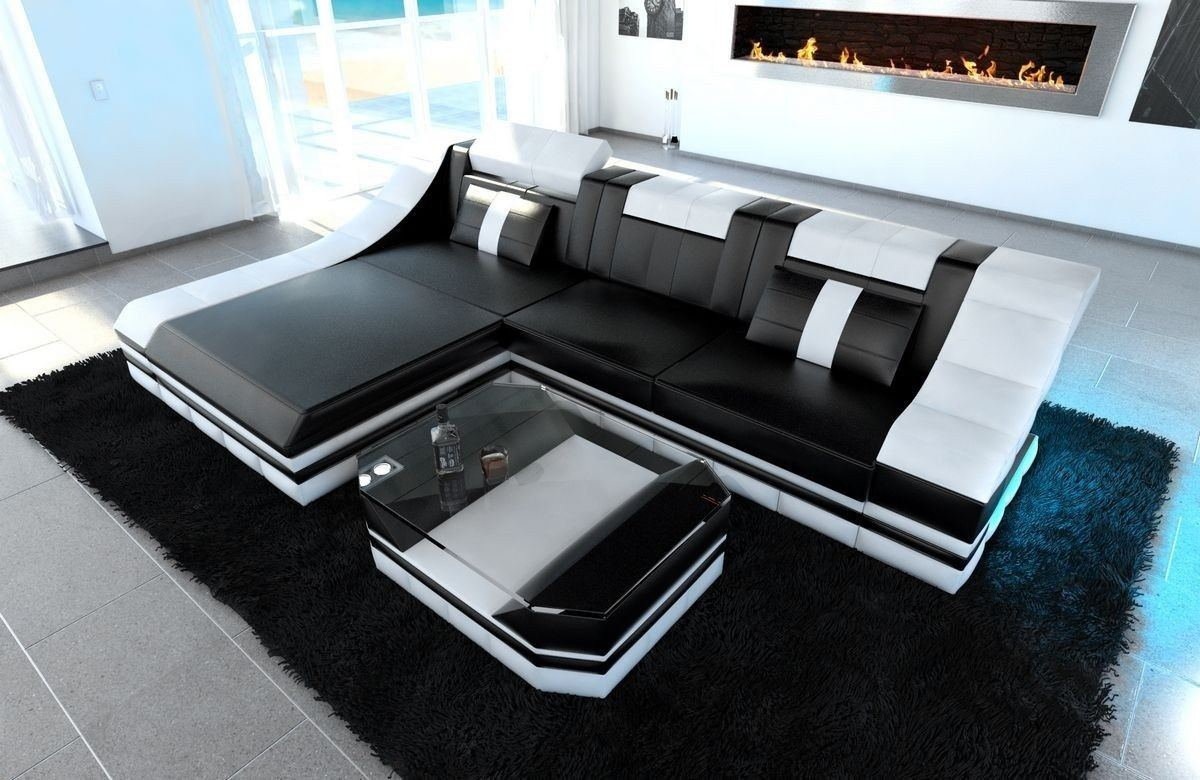 couch turino l form mit echtleder und kunstleder in. Black Bedroom Furniture Sets. Home Design Ideas