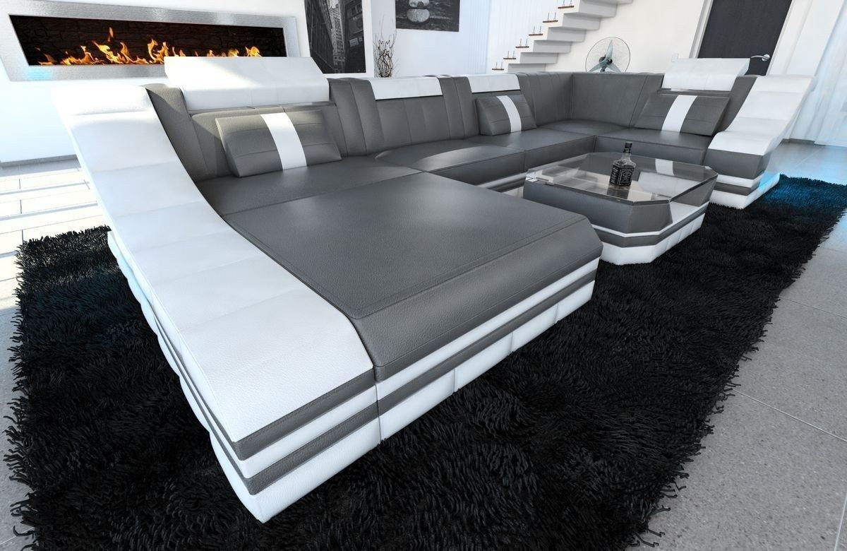 sofa wohnlandschaft turino leder als u form in grau und weiss. Black Bedroom Furniture Sets. Home Design Ideas