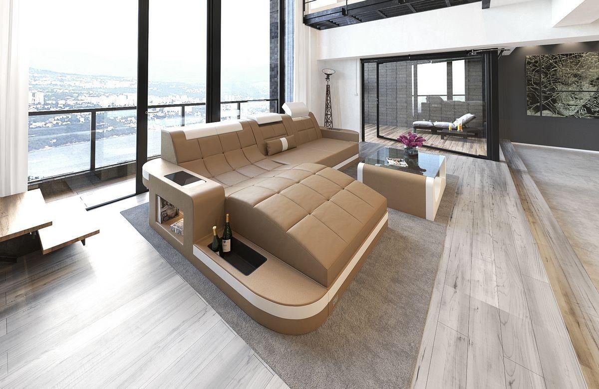 ledersofa wave l form sandbeige weiss. Black Bedroom Furniture Sets. Home Design Ideas