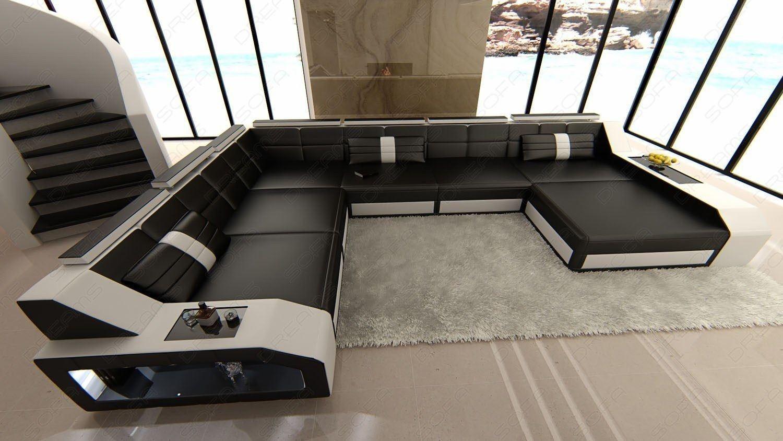 design wohnlandschaft matera in xxl mit leder in schwarz weiss. Black Bedroom Furniture Sets. Home Design Ideas